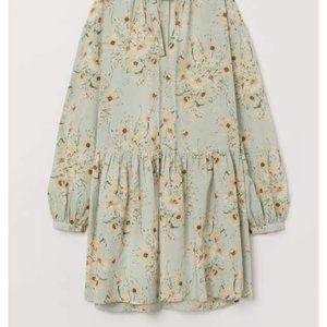 H&M Wide Cut Mint Green Floral Print Smock Dress